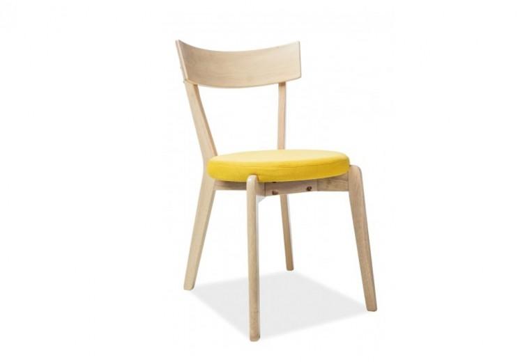 Scaun tapitat cu stofa si picioare din lemn Nelson Galben, l44xA40xH78 cm