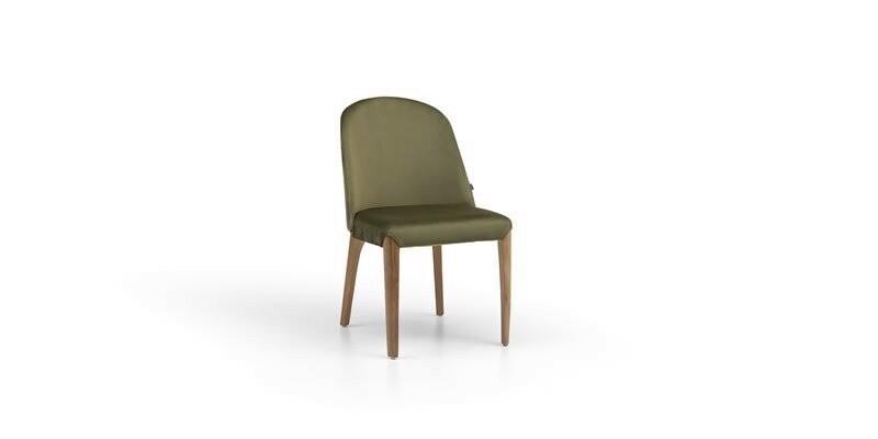 Scaun tapitat cu stofa si picioare din lemn Noble Velvet Verde / Nuc, l48xA51xH82 cm