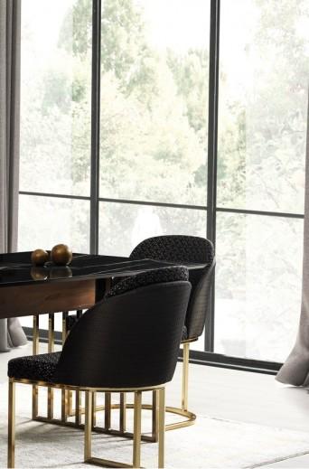 Scaun tapitat cu stofa si picioare metalice Monaco Negru / Auriu, l46xA48xH87 cm