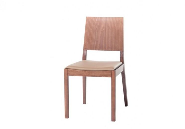 Scaun din lemn de stejar, tapitat cu piele ecologica Lyon Walnut / Beige 514, l46xA58xH86 cm