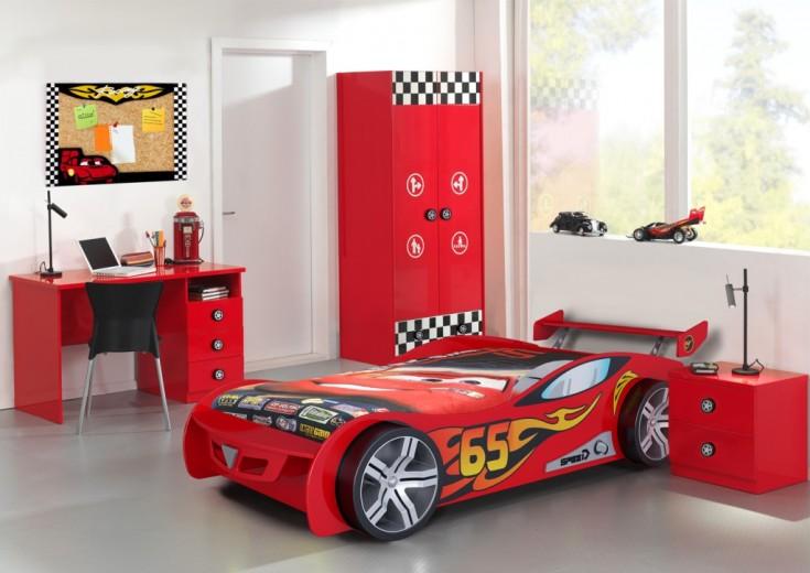Set Mobila dormitor din MDF, pentru copii 3 piese Le Mans Red