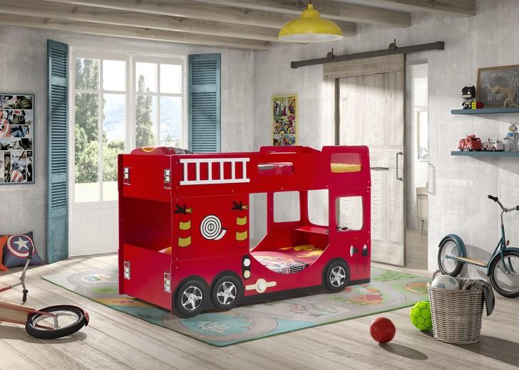 Pat din MDF pentru copii Fire Truck