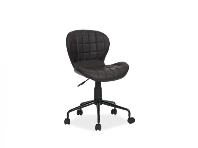 Scaun de birou ergonomic, tapitat cu piele ecologica Scot Black, l48xA37xH77-88 cm