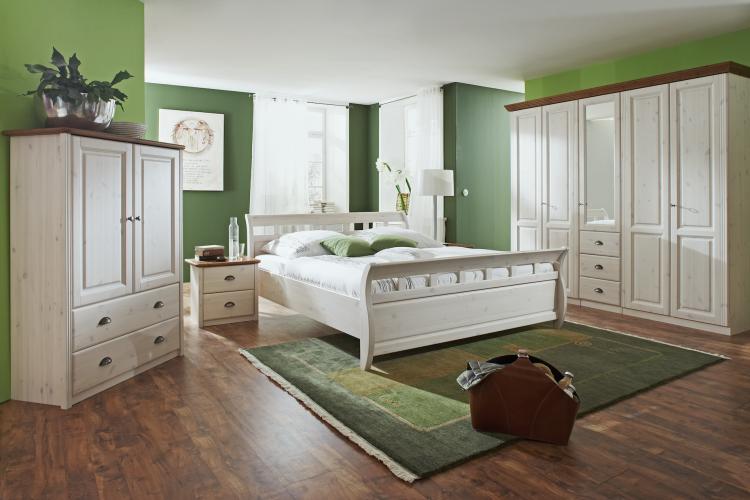 Cabinet din lemn de pin, cu 2 sertare si 2 usi Ole II White Antique / Brown, l101,7xA42,2xH142,1 cm