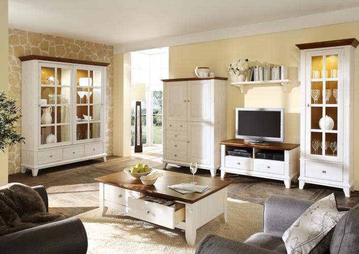 Cabinet din lemn masiv, cu 4 sertare si 3 usi, Georgia I White Antique, l118,2xA48xH163,2 cm