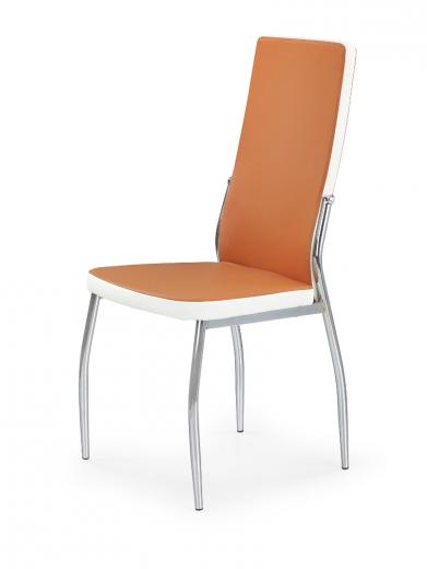 Scaun tapitat cu piele ecologica, cu picioare metalice K210 Orange / White, l42xA42xH100 cm