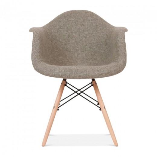 Scaun tapitat cu stofa si picioare de lemn Orsay Grey, l62xA57xH83 cm