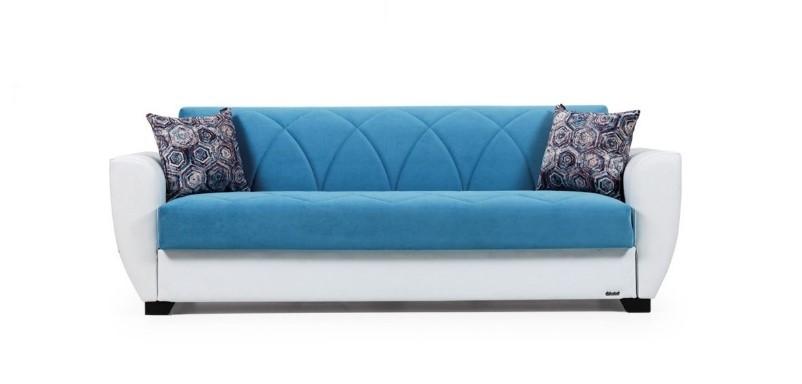 Canapea extensibila cu lada de depozitare, 3 locuri Sempati Albastru K3, l230xA71xH83 cm