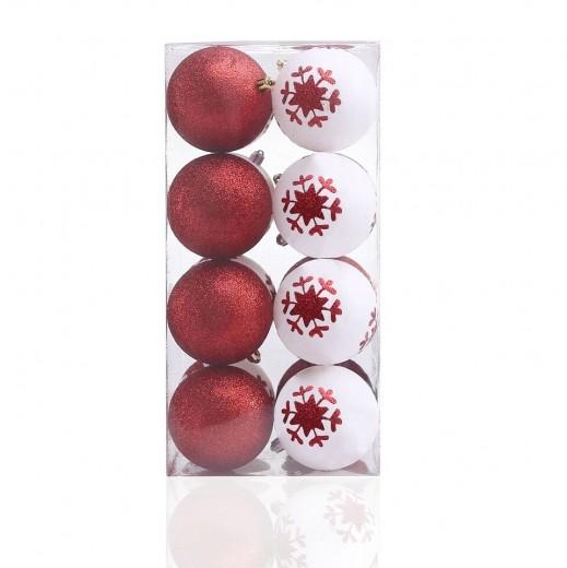 Set 16 globuri pentru brad din plastic Cherry Alb / Rosu, Ø8 cm
