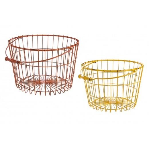 Set 2 cosuri metalice pentru depozitare Betsy Small Rosu / Galben, l32,3xA30,5xH20,5 cm / l38xA36xH23 cm