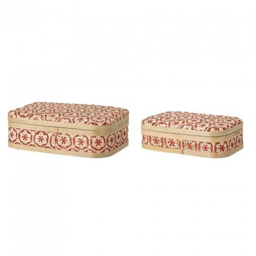Set 2 cutii pentru depozitare cu capac din bambus, Dy Natural / Rosu, l26xA16xH7 cm / l30xA21xH9 cm
