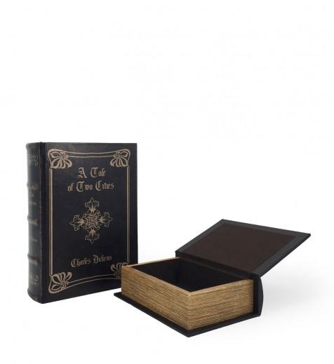 Set 2 cutii de depozitare in forma de carte Tale Of Two Cities Negru, l17xA6xH24 cm / l13xA5xH19 cm