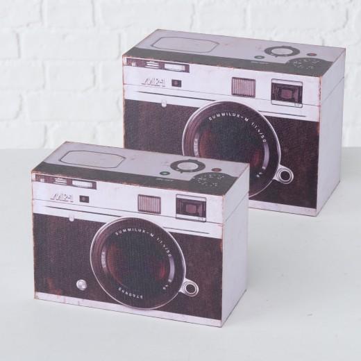 Set 2 cutii pentru depozitare, din MDF Fotoapparat Alb / Negru, L24xl12xH17 cm / L20xl9xH14 cm