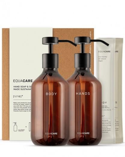 Set 2 dispensere Body & Hands cu 4 rezerve, din PET reciclat si ingrediente naturale, Body Duo, 350 ml