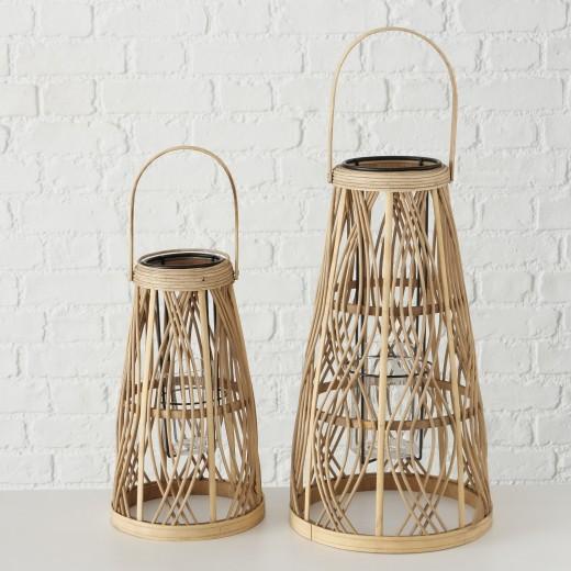 Set 2 felinare decorative, din bambus, sticla si metal Ajala Natural, Ø24xH43 cm / Ø19xH32 cm
