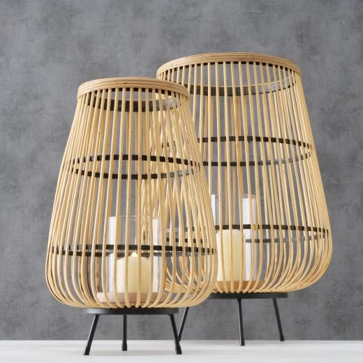 Set 2 felinare decorative, din bambus, sticla si metal Inu Natural / Negru, Ø42xH61 cm / Ø28xH46 cm