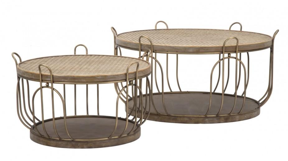 Set 2 mese de cafea din metal, lemn si ratan Marrakech Natural, Ø86xH43 / Ø64,5xH38 cm