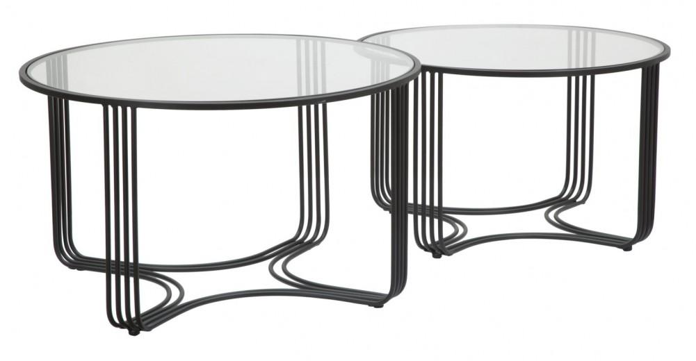 Set 2 mese de cafea din metal si sticla Dublino Negru, Ø81xH47 / Ø71xH43 cm