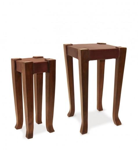 Set 2 mese din lemn Auxiliar Nuc, L37xl37xH65 cm / L24xl24xH56 cm