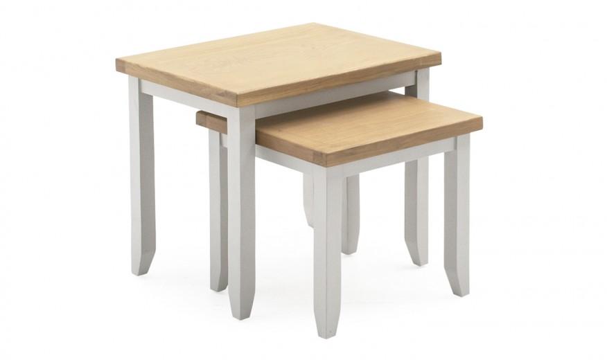 Set 2 mese din lemn de pin si MDF Ferndale Grey / Oak, L57xl42,5xH50 cm