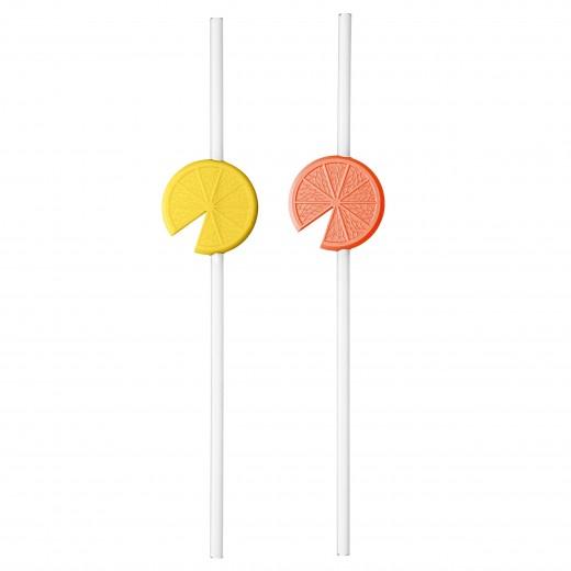 Set 2 paie reutilizabile, 100% Reciclabil, Lemon Organic Portocaliu / Galben