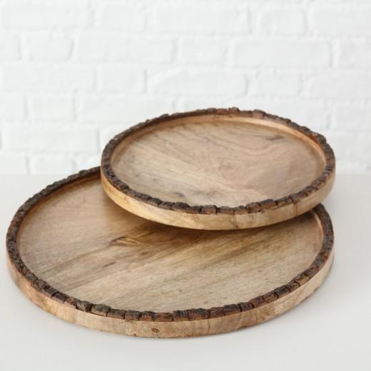 Set 2 platouri decorative din lemn de mango Widdo Natural, Ø34xH2 cm / Ø27xH2 cm