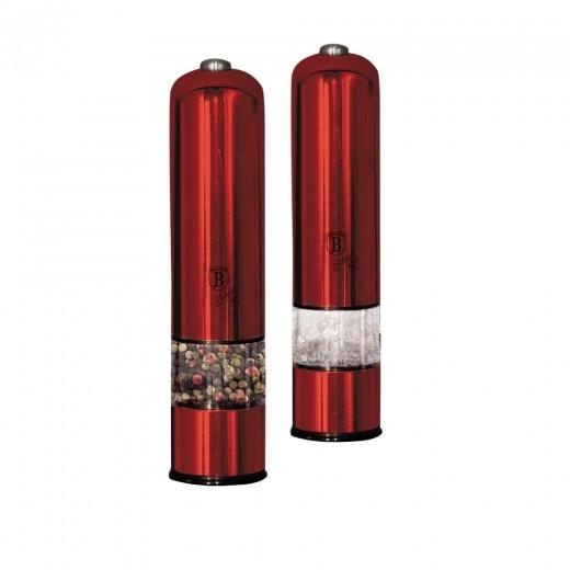 Set 2 rasnite electrice cu LED, pentru sare / piper, Metallic Line Burgundy