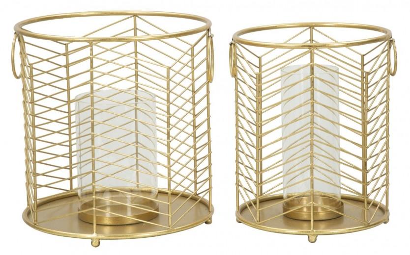 Set 2 Suporturi metalice pentru lumanare Ring Gold, Ø23,5xH25 / Ø19xH24 cm
