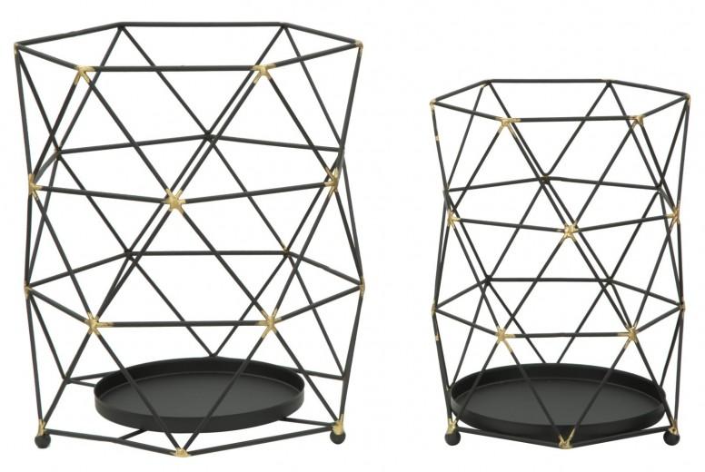 Set 2 Suporturi metalice pentru lumanari Bright Black, Ø23xH26 / Ø18xH25 cm