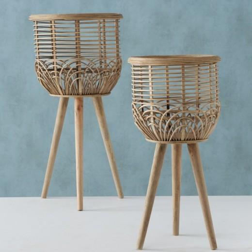 Set 2 suporturi pentru ghivece din bambus Nana Natural, Ø34xH68,5 cm / Ø27,5xH56 cm