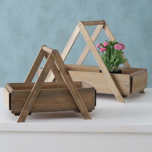 Set 2 suporturi pentru ghivece din lemn Billund Natural, l55xA30xH40 cm / l38xA23xH30 cm