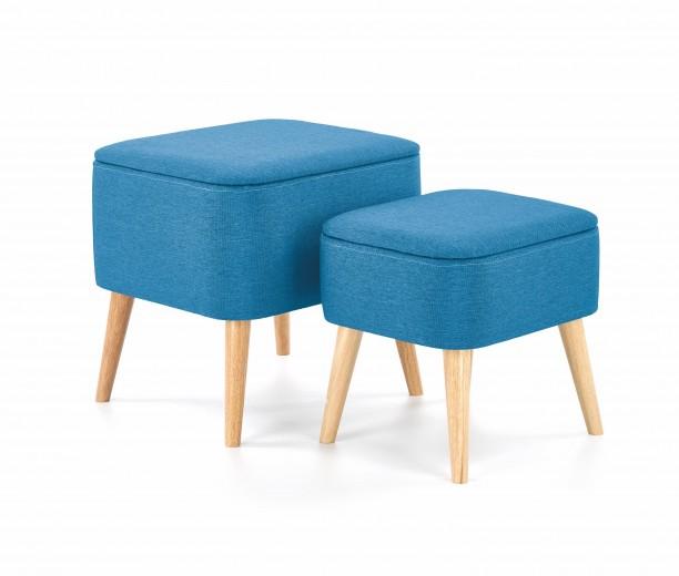 Set 2 taburete tapitate cu stofa, cu picioare din lemn Paula Blue / Natural, l49xA43xH46 / l41xA34xH38 cm
