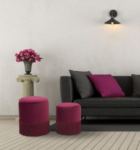 Set 2 taburete tapitate cu stofa Lines Velvet Bordeaux, Ø35xH42 / Ø30xH32 cm