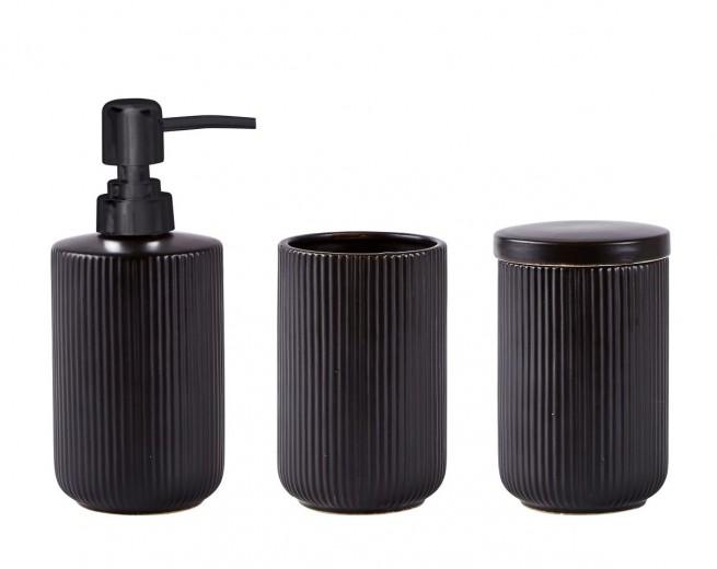 Set 3 accesorii baie din ceramica, Black, Kj