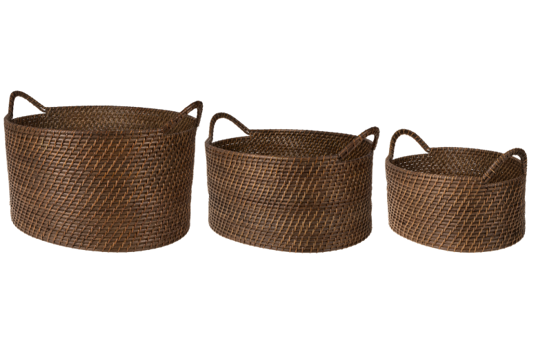 Set 3 cosuri din rattan Atmosphere, Dark Brown