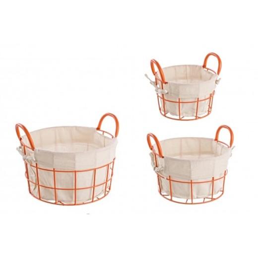 Set 3 cosuri metalice pentru depozitare Samar Orange / Gri deschis, Ø30xH17 cm / Ø25xH15 cm / Ø20xH13 cm