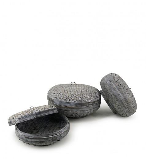 Set 3 cosuri pentru depozitare Bamboo Gri, Ø33xH18 cm / Ø30xH14 cm / Ø24xH12 cm