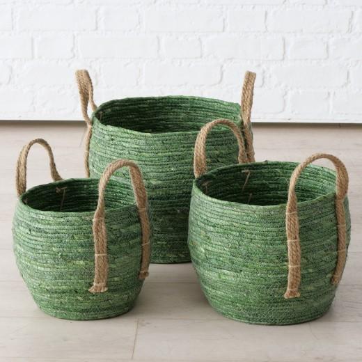 Set 3 cosuri pentru depozitare, din frunze de porumb si iuta Takeo Verde / Natural, Ø33xH30 cm / Ø28xH26 cm / Ø23xH22 cm