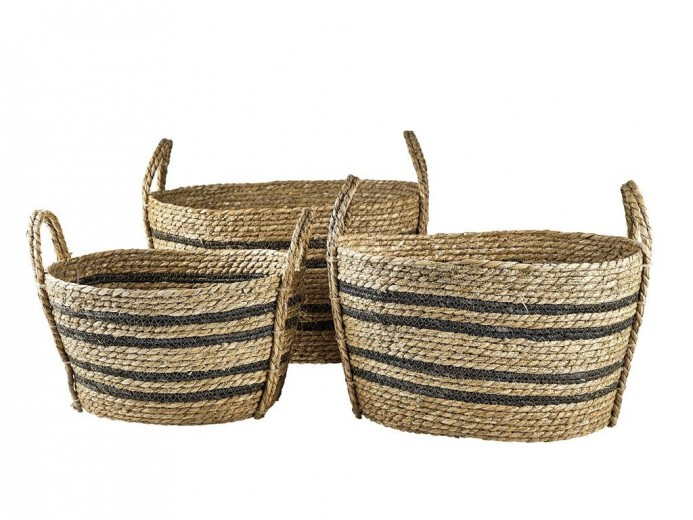 Set 3 cosuri pentru depozitare din iarba de mare Sophys 11205 Natural / Negru, L50xl40xH29 cm / L45xl35xH26 cm / L38xl28xH23 cm