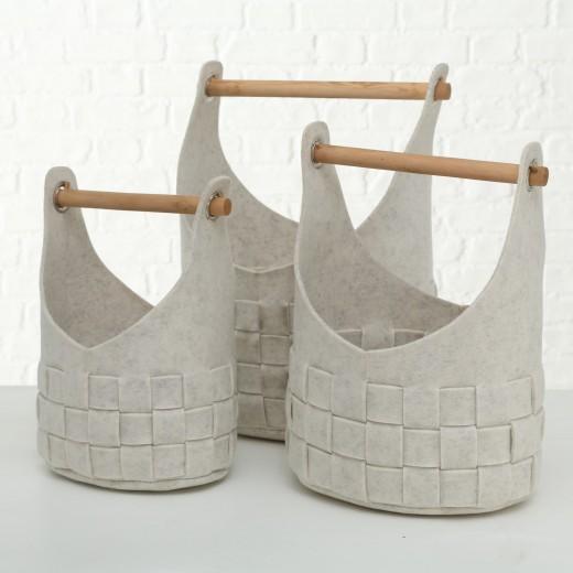 Set 3 cosuri pentru depozitare din pasla Basket Cui Bej, L35xl27xH50 cm / L30xl24xH45 cm / L25xl18xH39 cm