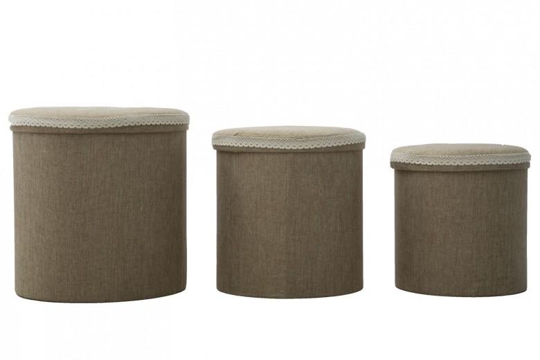 Set 3 cutii cu spatiu de depozitare Tris Maro, Ø44xH44 cm / Ø38xH38 cm / Ø34xH34 cm