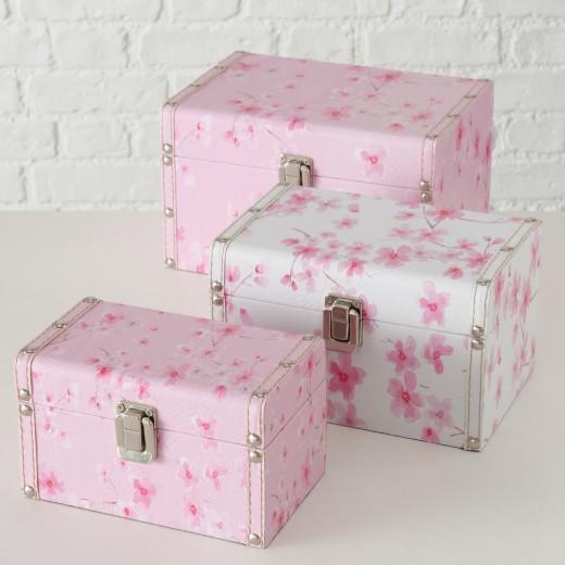 Set 3 cutii pentru bijuterii din MDF Sakura Roz / Alb, L23xl16xH14 cm / L20xl13xH12 cm / L17xl10xH10 cm