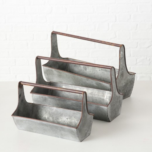 Set 3 ghivece din metal Carlson Gri / Maro, l44xA18xH26 / l37xA16xH23 / l29xA14xH19 cm