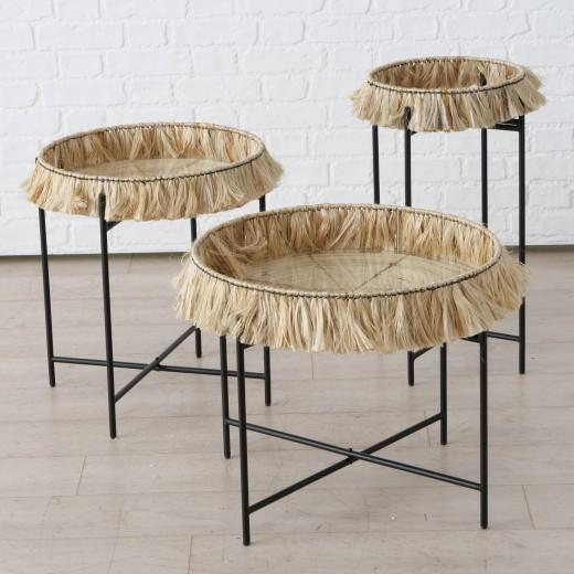 Set 3 masute de cafea din sticla, bambus si metal Banjar Negru / Natural, Ø57xH48 / Ø47xH54 / Ø33xH65 cm