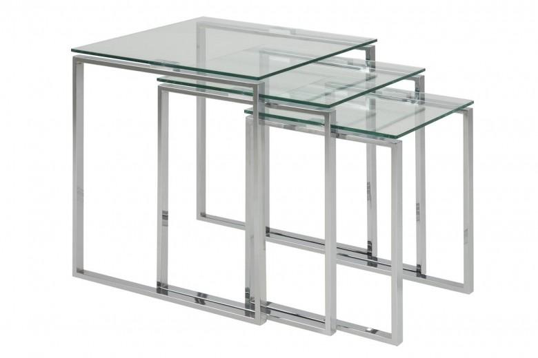 Set 3 masute de cafea din sticla si metal Katrine Transparent / Crom, L50xl50xH55 cm / L43xl43xH50 cm / L36xl36xH45 cm