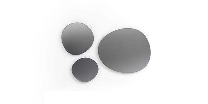 Set 3 oglinzi decorative cu rama din pal Floria Alb, l62xH58 cm / l40,3xH40 cm / l33xH30,2 cm