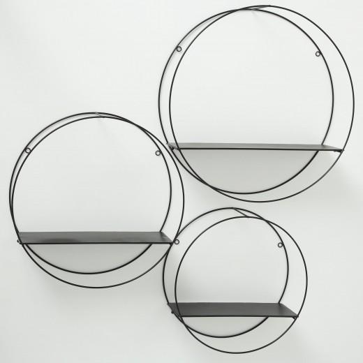 Set 3 rafturi suspendate din metal Franco Negru, Ø55xH15 cm / Ø47xH15 cm / Ø40xH15 cm