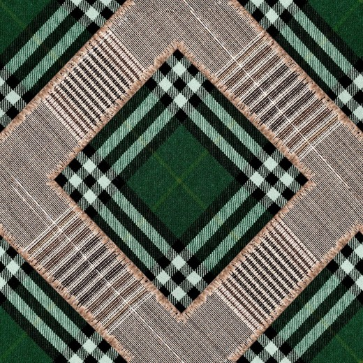 Set 3 role Tapet Imprimat Digital Checkered Patchwork British Green