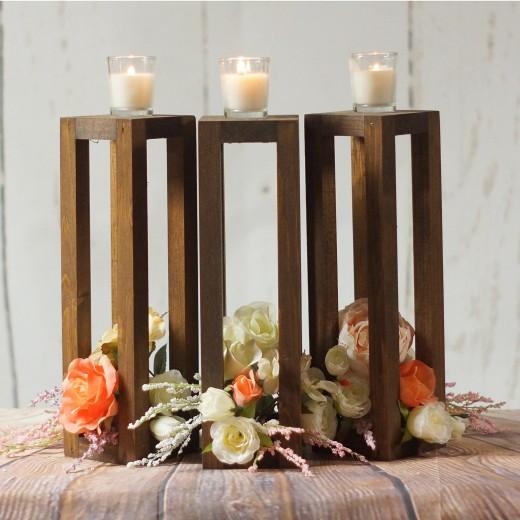 Set 3 Suporturi lumanare din lemn Merry l9xA9xH30 cm