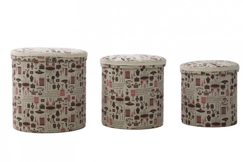 Set 3 cutii cu spatiu de depozitare Home Multicolor, Ø44xH44 cm / Ø38xH38 cm / Ø34xH34 cm